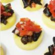 Mushroom & tomato polenta crouton