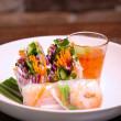 Prawns & crispy greens rice paper rolls