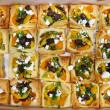 Savoury puff pastry squares