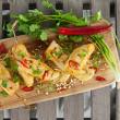 Satay chicken skewer