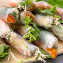 Pulled chicken rice paper rolls