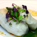Poached chicken rice paper rolls