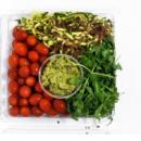 Raw zucchini noodles salad