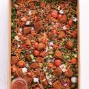 Lentil, tabouleh & falafel salad