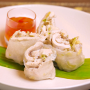 Poached chicken & coconut rice paper rolls