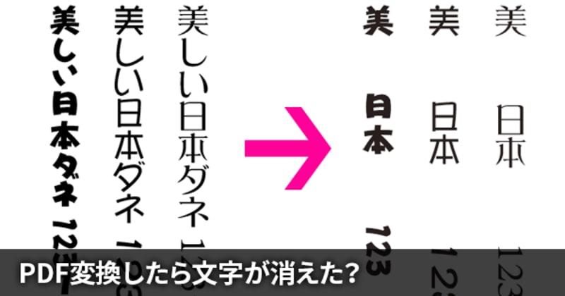 Illustratorでダイナフォントを縦組みで使用してPDF変換すると文字が消える