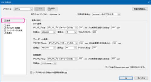 「PDFの最適化」のダイアログで「画像」の項目