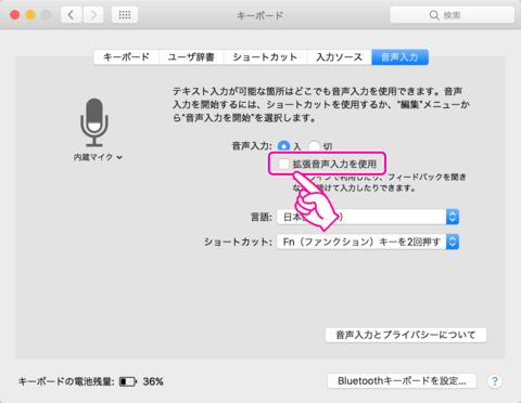「拡張音声入力を使用」のチェックを外します