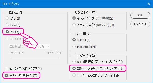 TIFF形式の保存オプション(2)