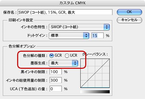 RGBからCMYKへのカラー変換:GCRで墨版生成最大とJapan Color 2001 Coated(8)