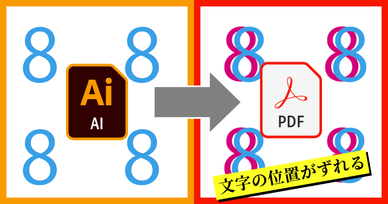 Illustratorの移動ツールやアピアランスの変形で文字を移動・複製したものをPDF保存すると文字がズレる