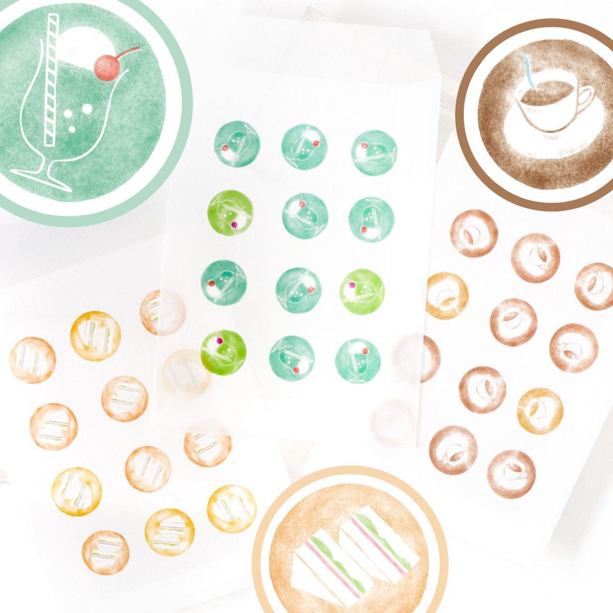 グラシン封筒 喫茶店をイメージしたクリームソーダ・コーヒー・サンドイッチ