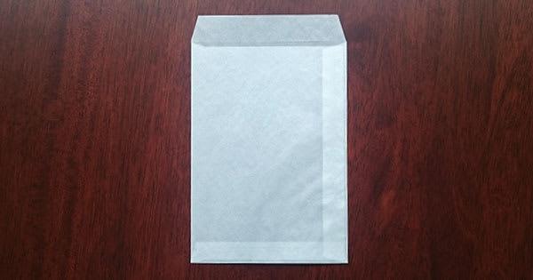 グラシン封筒 縦 葉書サイズ 白 / 114×162mm