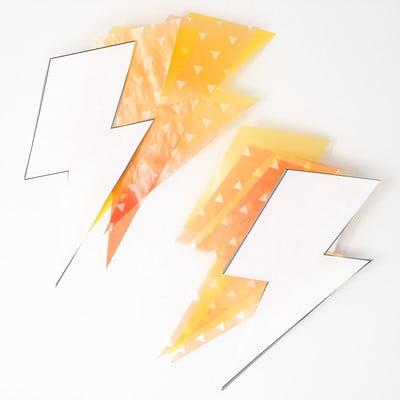 和柄グラシン紙の雷ラッピング - step3