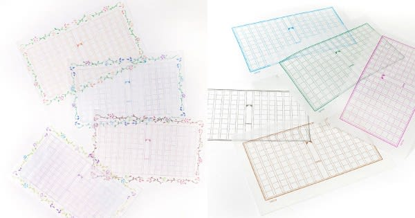 グラシンミニ原稿用紙 花飾り / 160×100mm