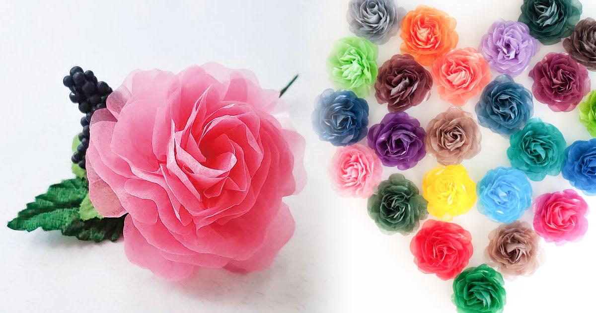 グラシン紙で手作り薔薇のコサージュ
