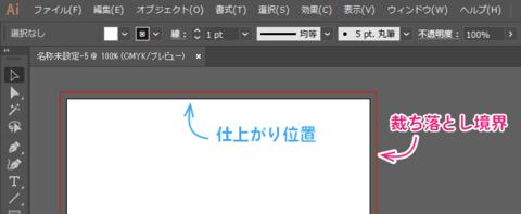 Illustratorの編集画面上で、裁ち落としの領域(裁ち落とし境界)を表示されている様子