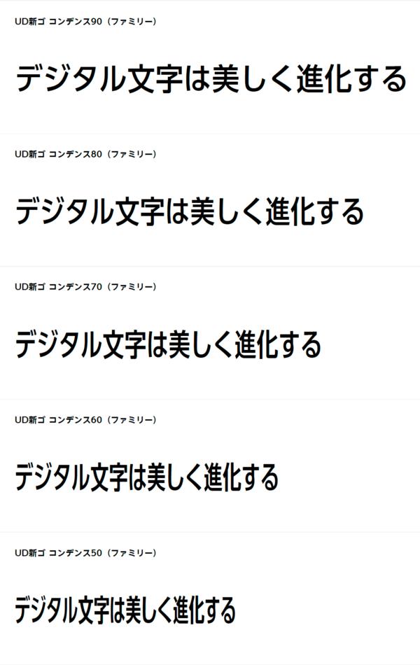 モリサワのフォント:UD新ゴ コンデンス90/80/70/60/50