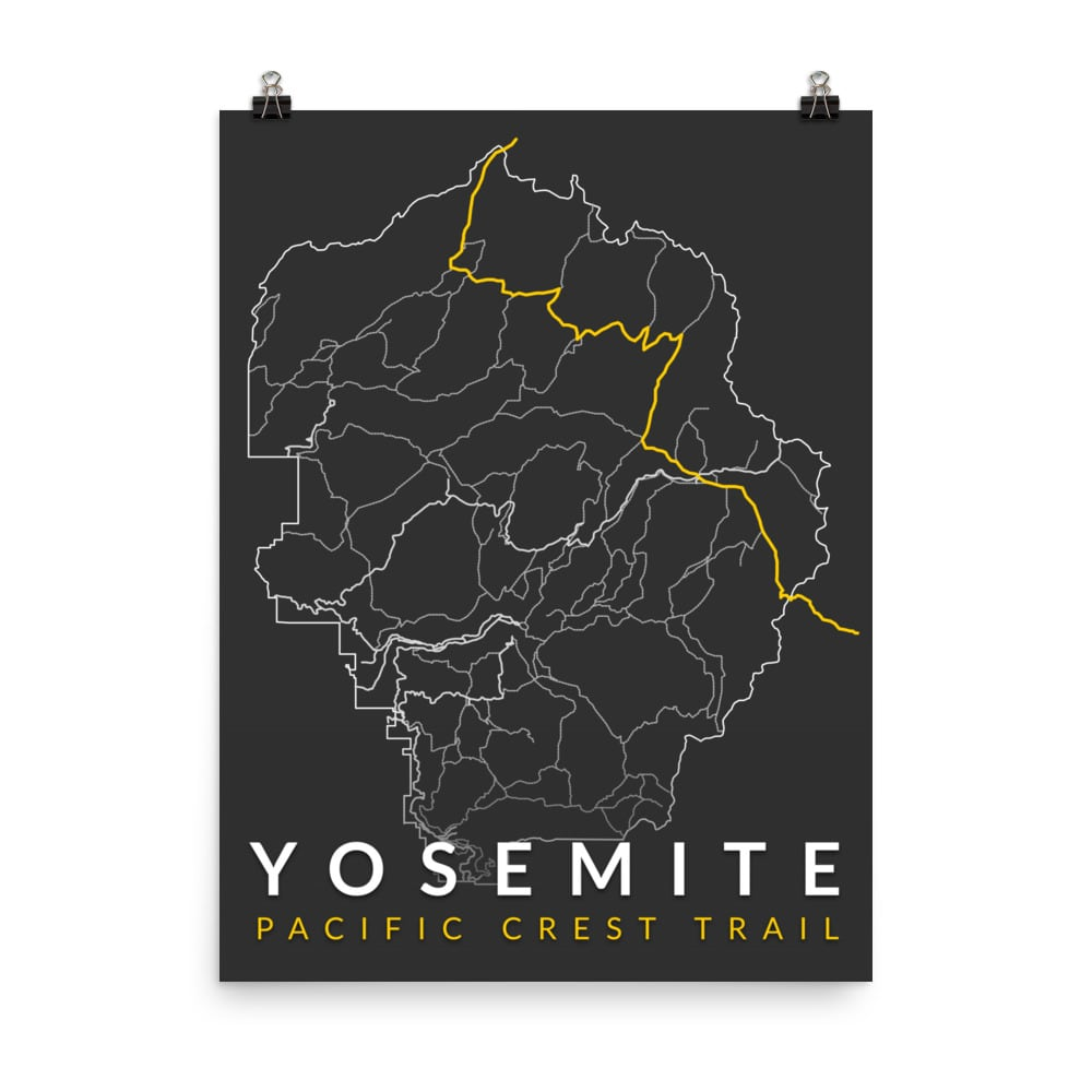 Yosemite Map Series Poster - Pacific Crest Trail | You Me ...