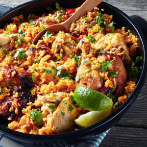 meal prep bestellen - Paella - Hähnchenbrust, Quinoa, Paprika und Chorizo