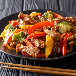 Fitness Meals bestellen - Rinder-Teriyaki mit bunten Paprika und Brokkoli