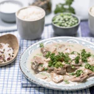 prep my meal - Eingemachtes Kalbfleisch mit Brokkoli-Kuchen