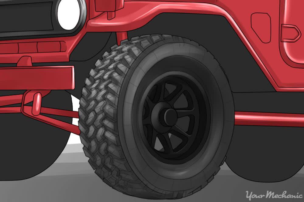 black knobby truck tire rim