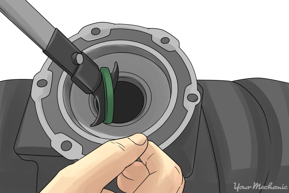 oil seal being removed with oil seal puller