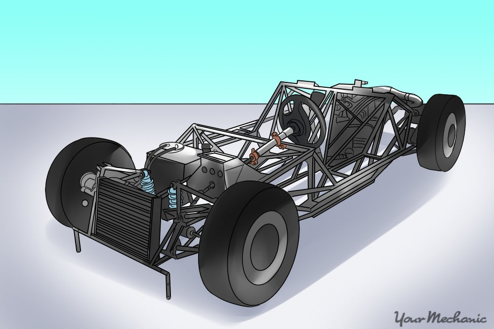 frame with engine and transmission added to it