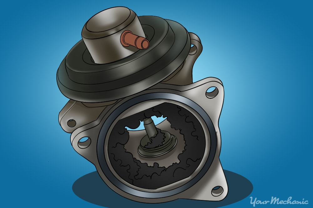 EGR valve connection that needs to be cleaned