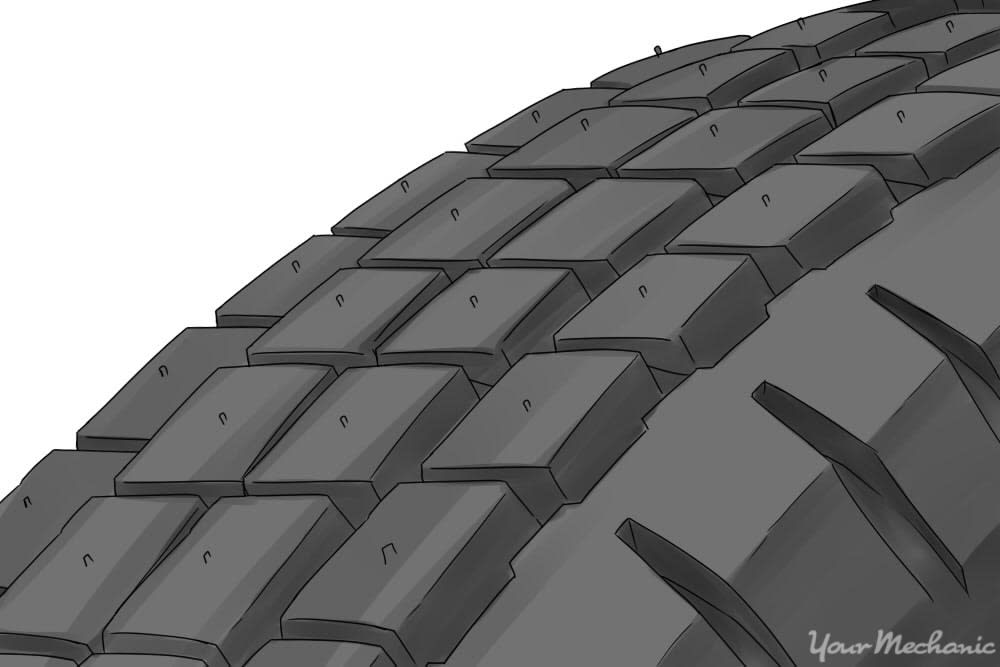 snow tire with many sipes in the thread