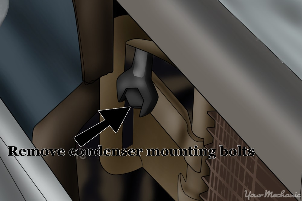 removing the condenser mounting bolts