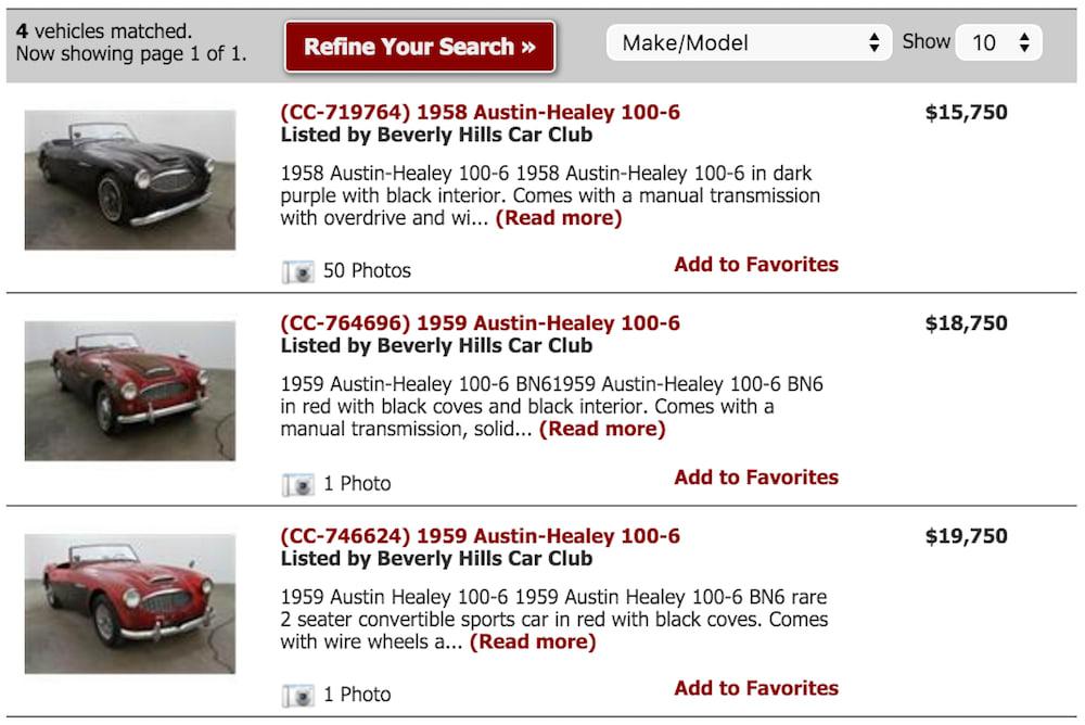 vintage car site search