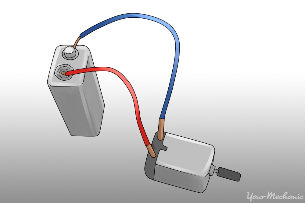 test leads connecting a nine volt battery to the motor