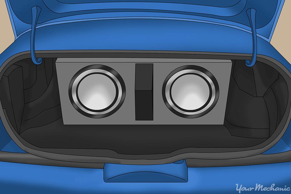speaker box inside of trunk