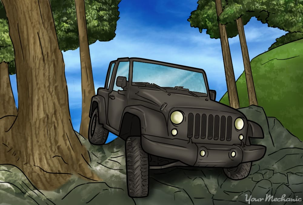jeep driving in offroad conditions