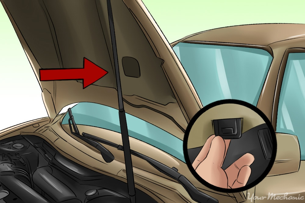 hand releasing hood lever located beneath steering wheel with arrow pointing out the prop rod