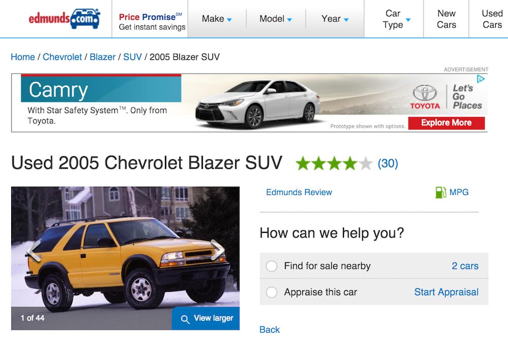 screenshot of edmunds site for 05 chevy blazer