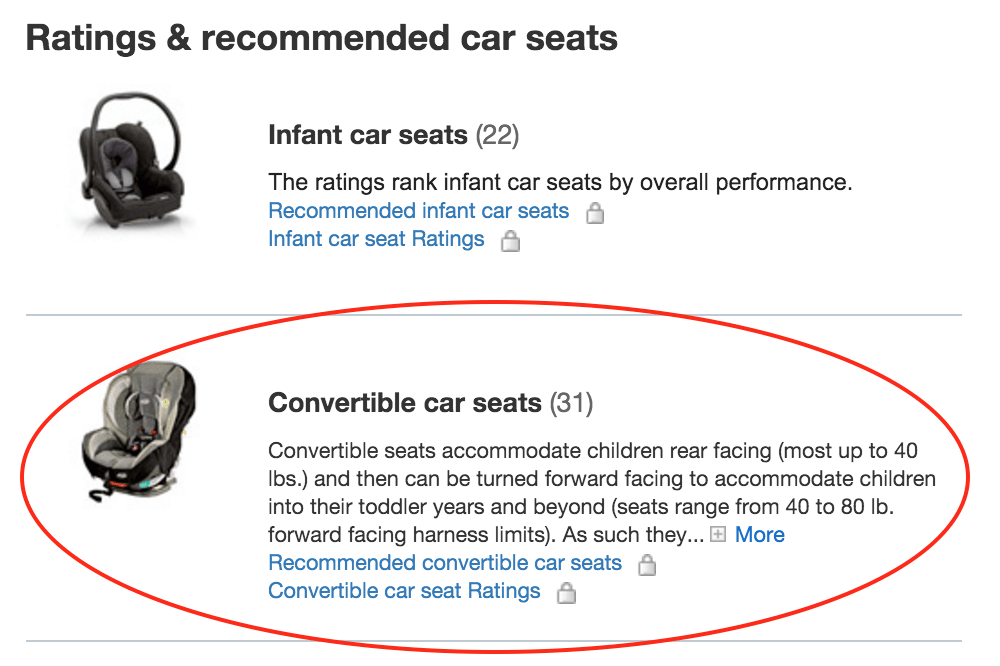 convertible car seat circled