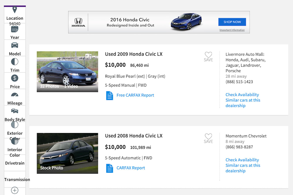 vehicle comparison on cars site