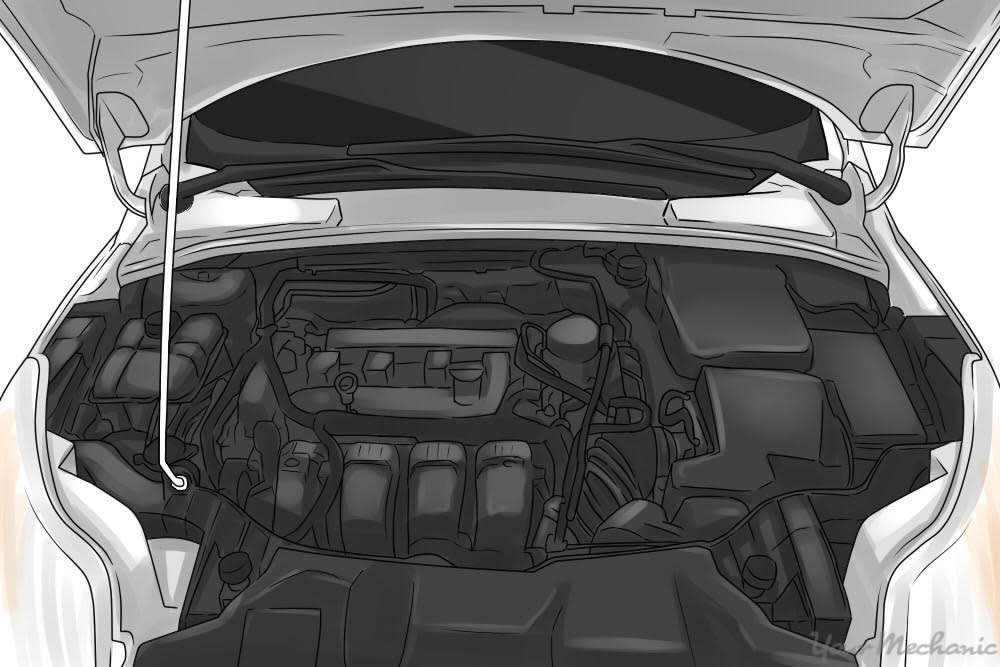 parked car with open hood