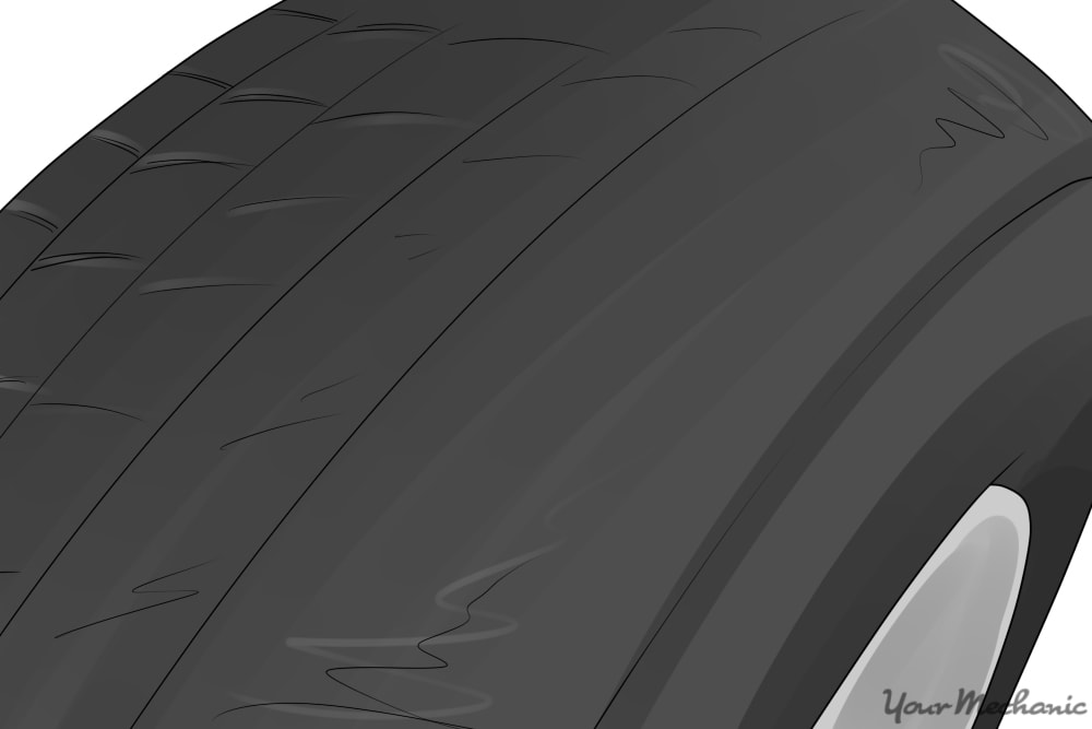 top view of tire with uneven wear