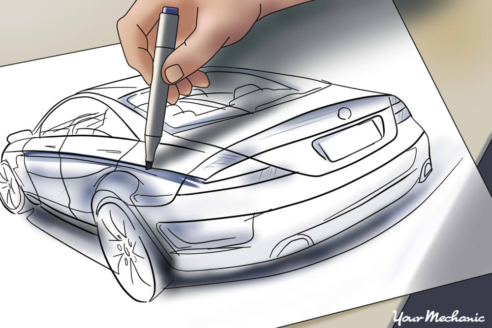 person drawing out car
