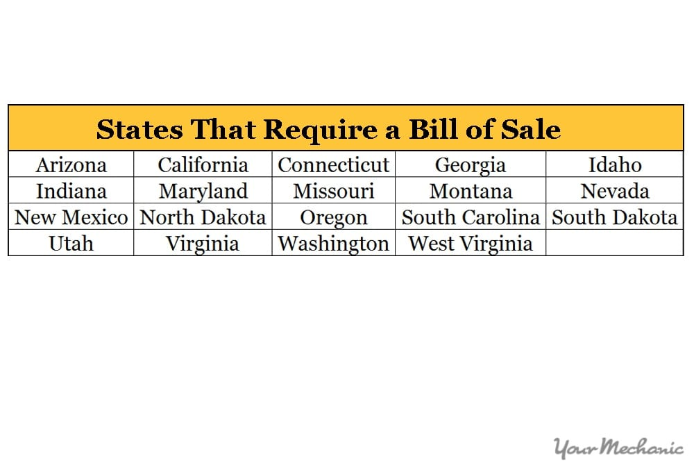 bill of sale chart