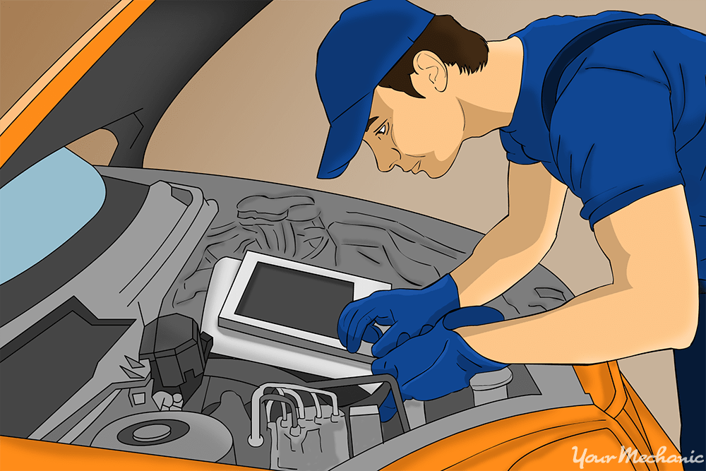 close up of person working on car