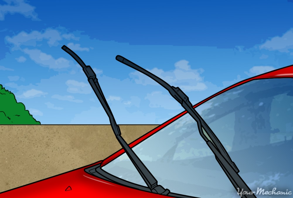 windshield wipers in an upright position