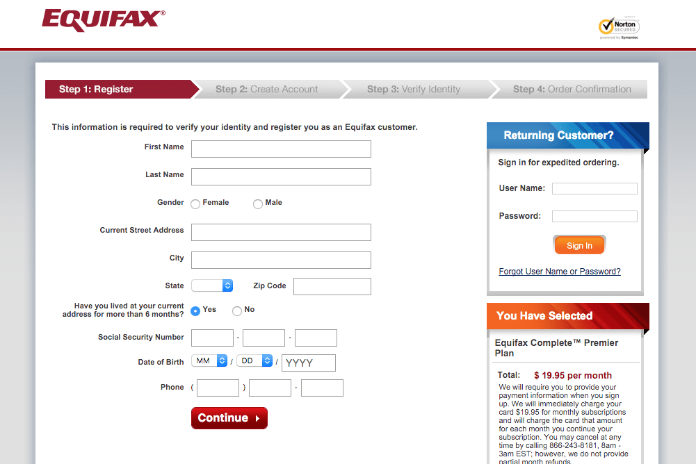 equifax page