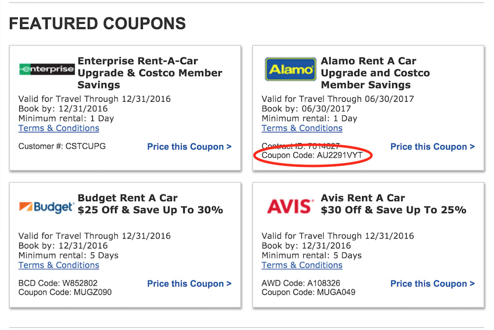 where do i find coupons for rental cars