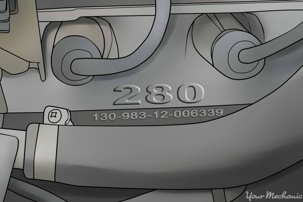 engine showing engraved numbers