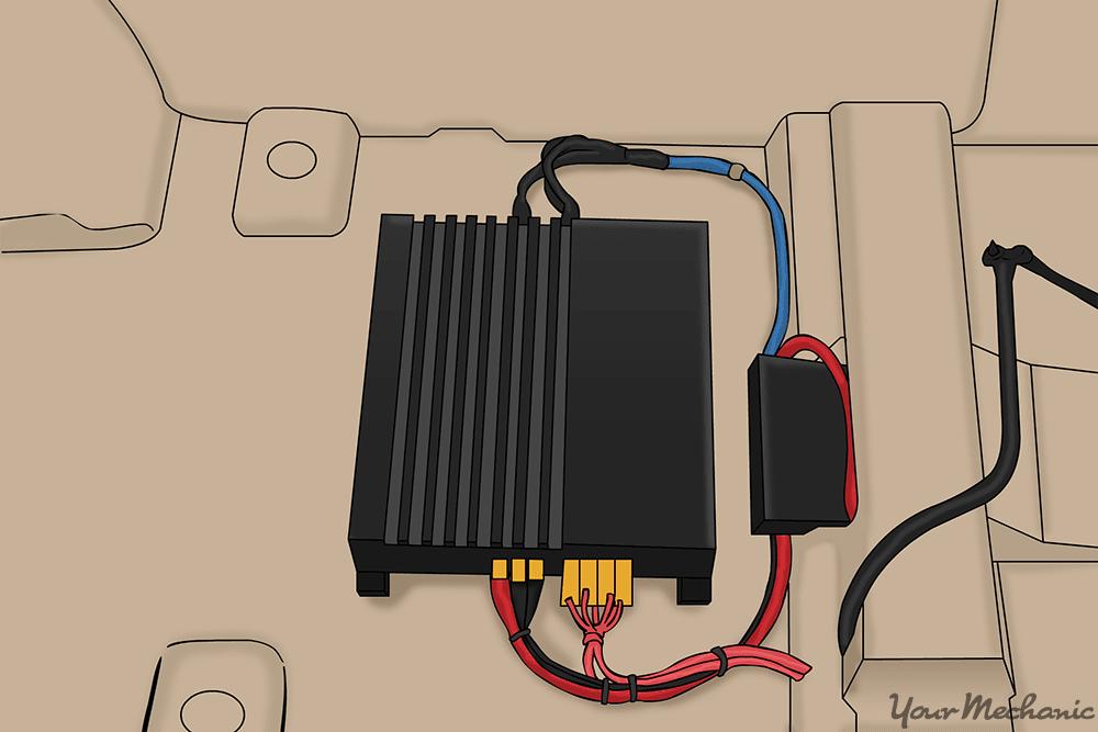 car amplifier installed